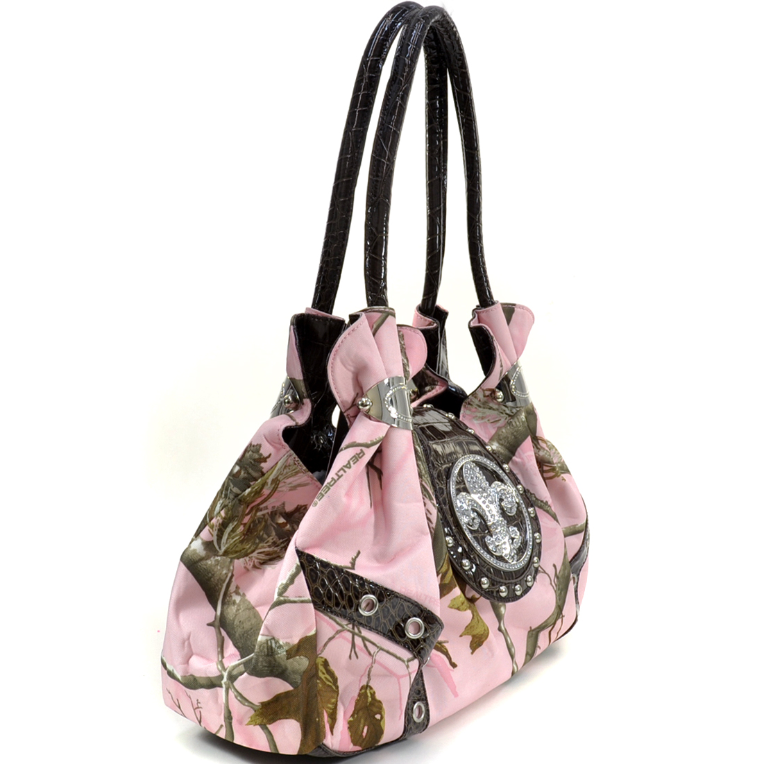 Realtree ® Studded Camouflage Satchel Bag with Rhinestone Fleur De Lis - Camouflage/Pink