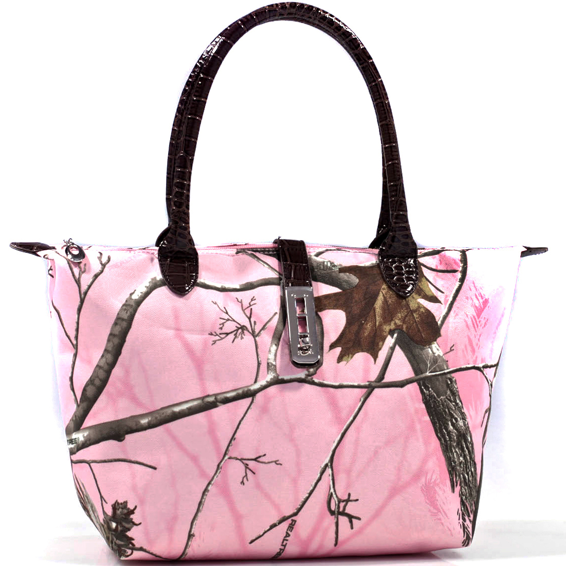 Realtree ® Camouflage Tote Bag with Twist Lock Accent - Pink/camouflage