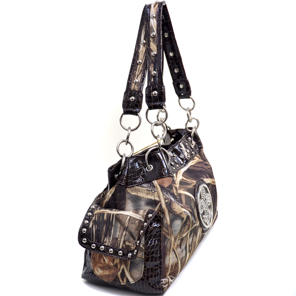 Realtree® camouflage Fleur de Lis accent shoulder bag handbag - Pink
