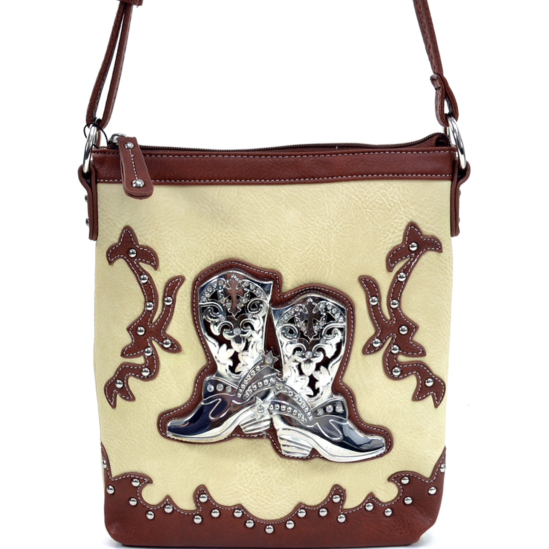 Western Faux Buffalo Leather Cowgirl Boots Studded Rhinestone Messenger Bag with Cross Detail