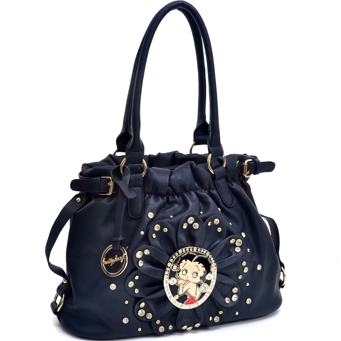 Rhinestone Studded Betty Boop Flat Bottom Hobo Bag with Adjustable Removable Shoulder Strap
