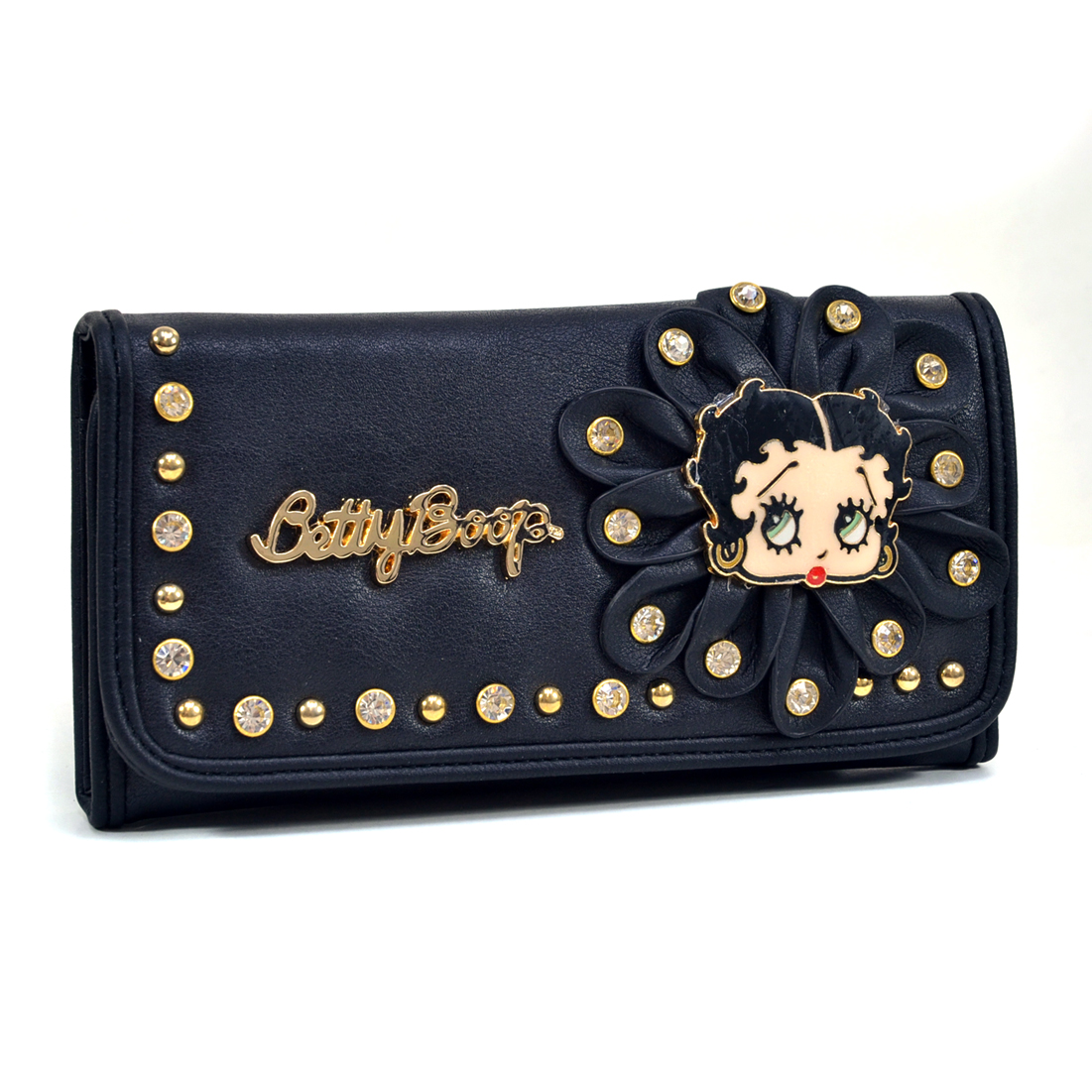 Betty Boop Rhinestone Studded Flower Design Tri Fold Wallet
