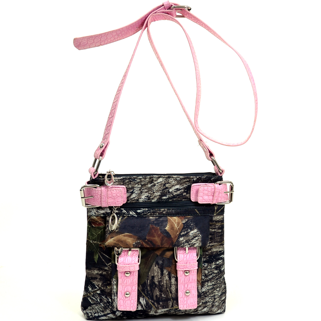 Mossy Oak® Camouflage Crossbody Bag w/ Belted Trim And Strap