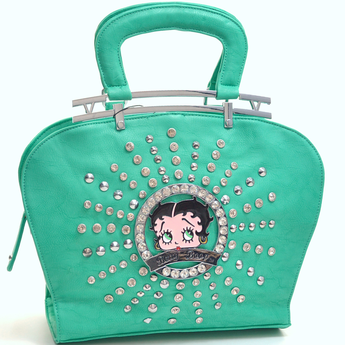Rhinestone and Studs Betty Boop Shoulder Bag Flat Bottom Design with Removable Adjustable Shoulder Strap