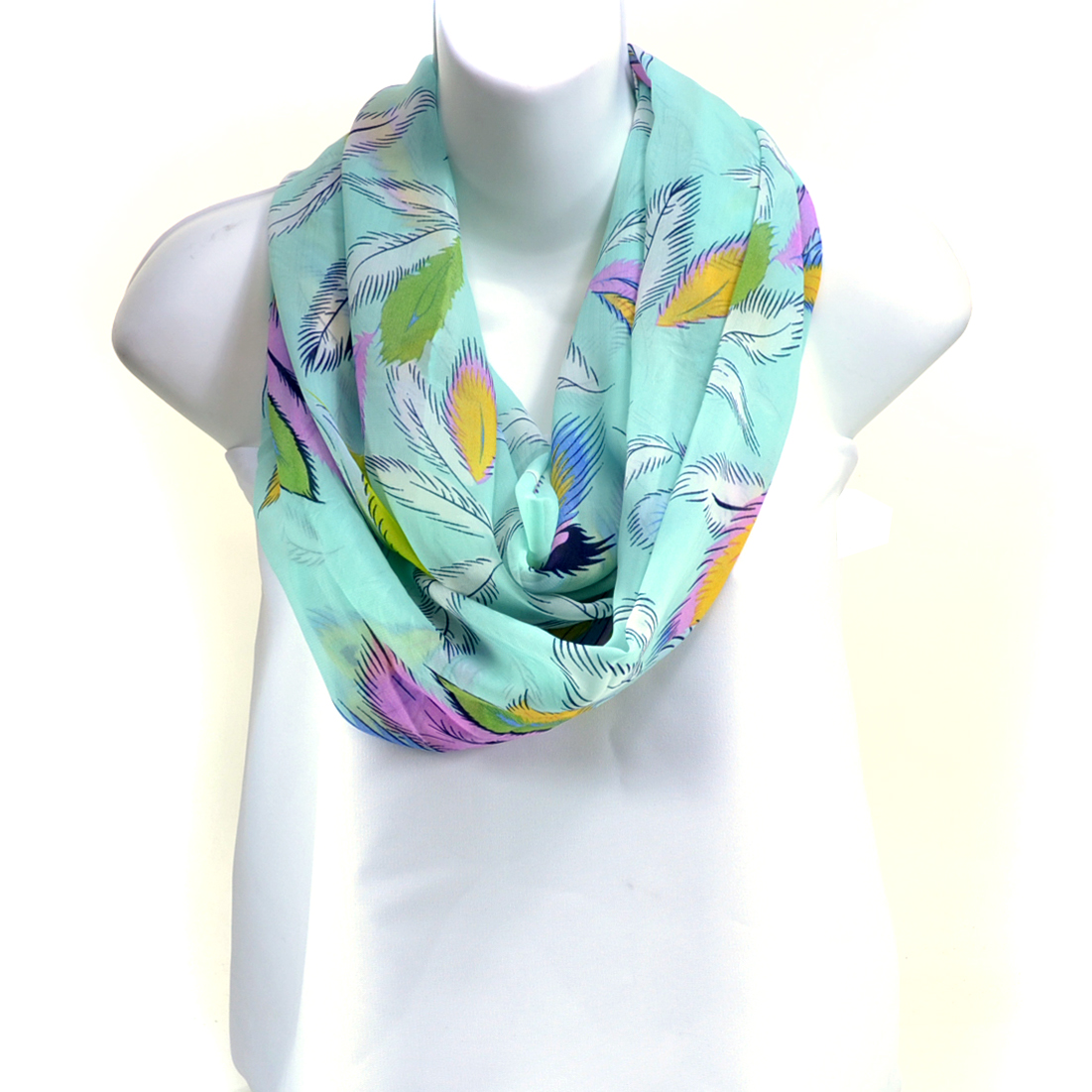 Floral Daisy Print Gauze Like Continuous Loop Light Weight Scarf