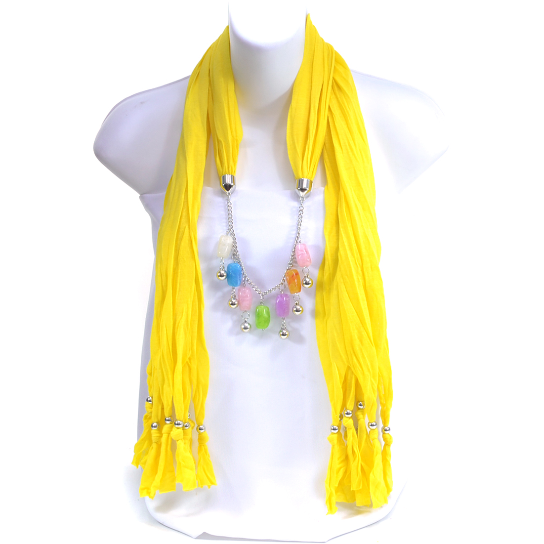 Silver Beads and Pendant Necklace Scarf with Beaded Fringe