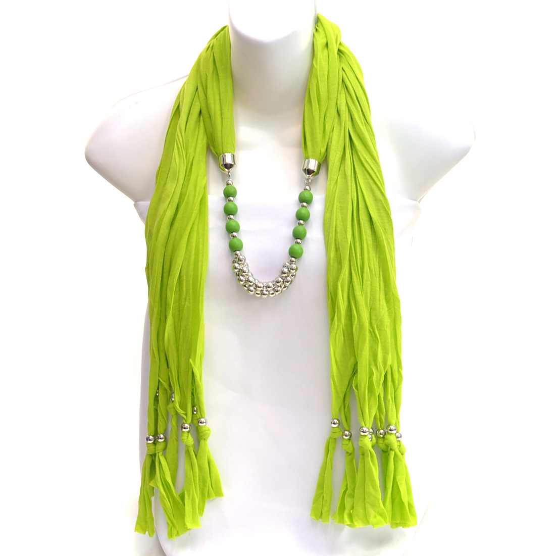 Interlocking Silver Tone Piece Scarf with Wooden Look Beads and Silver Tone Beaded Fringe