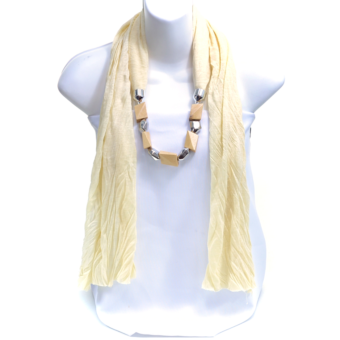 Light Weight Wooden Rhombus Bead Clean Edge No Fringe Scarf with Silver Tone Accents