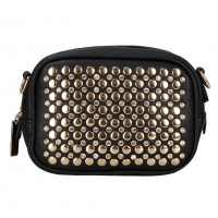 Zip Top Rhinestone Studded Clutch with Adjustable Removable Shoulder Strap