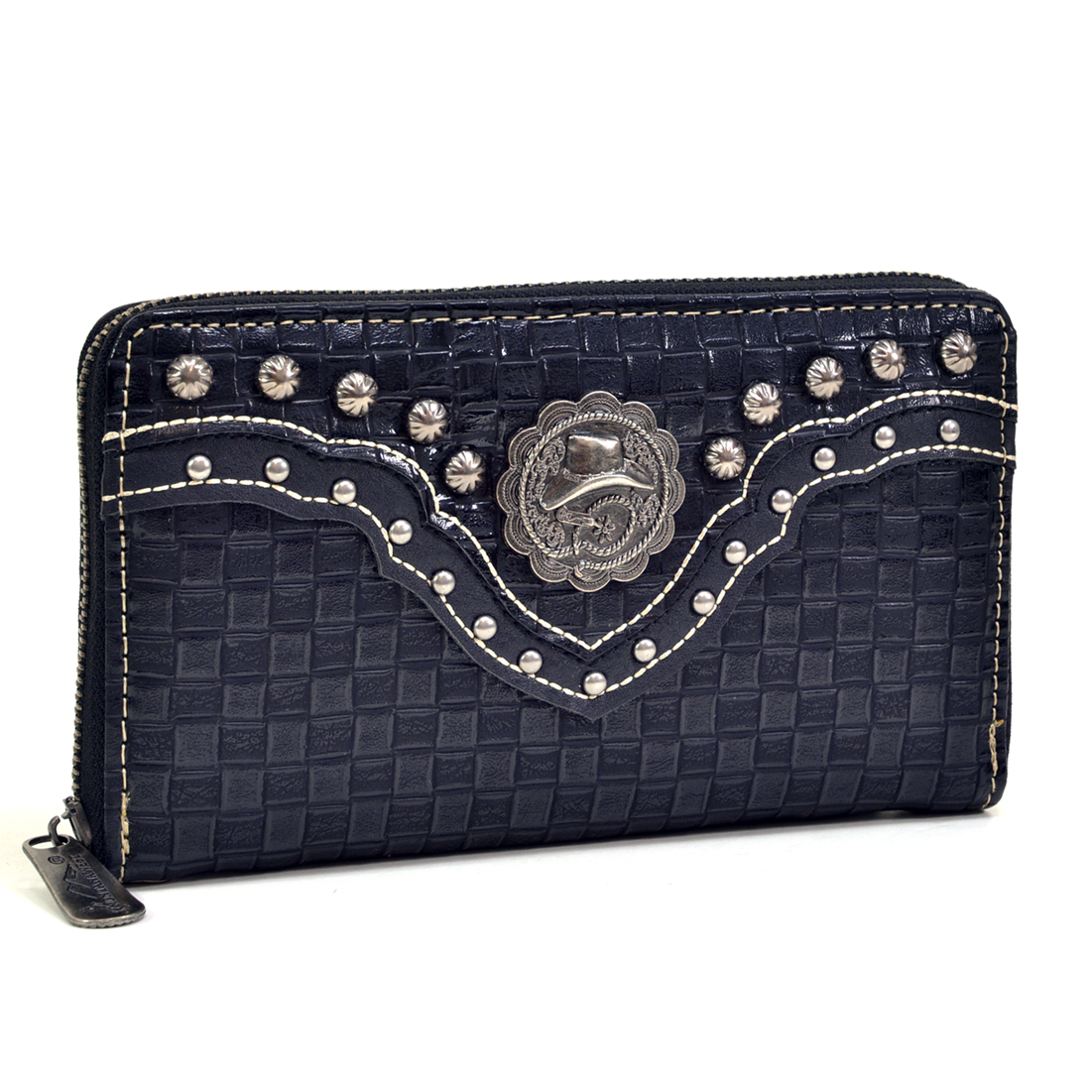 Montana West® Pewter Tone Studded Cowboy Hat Clutch Wallet