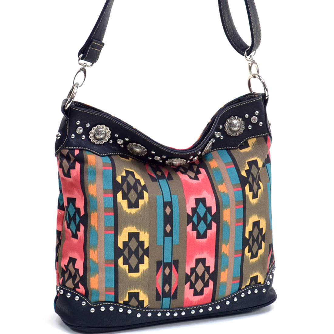 Montana West® Navajo Inspired Rhinestone Western Flat Bottom Tote