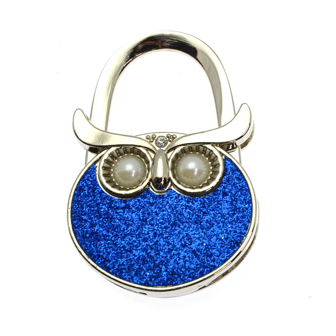 Pearl and Rhinestone Owl Foldable Purse Hanger Hook