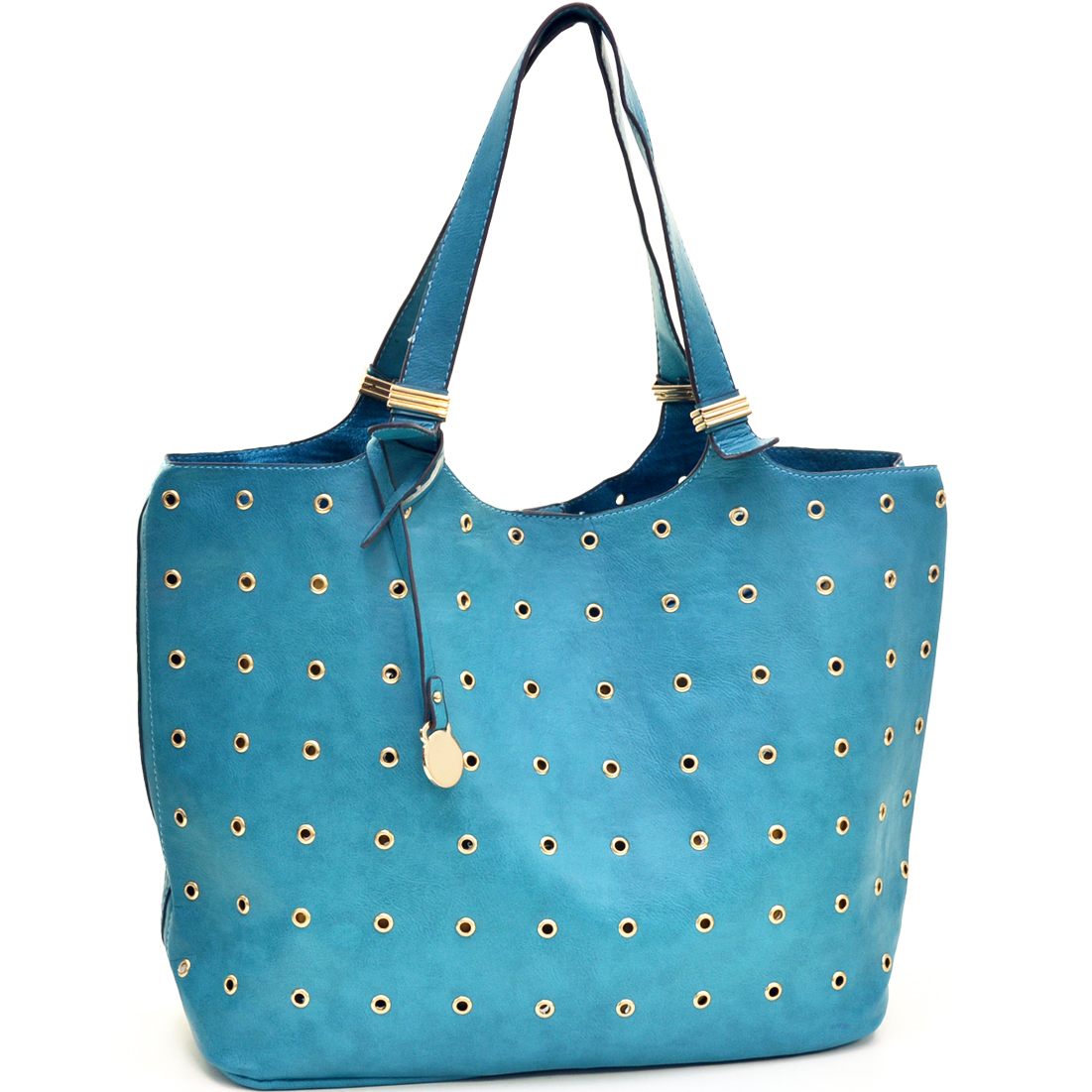2 in 1 Flat Bottom Eyelet Tote Bag