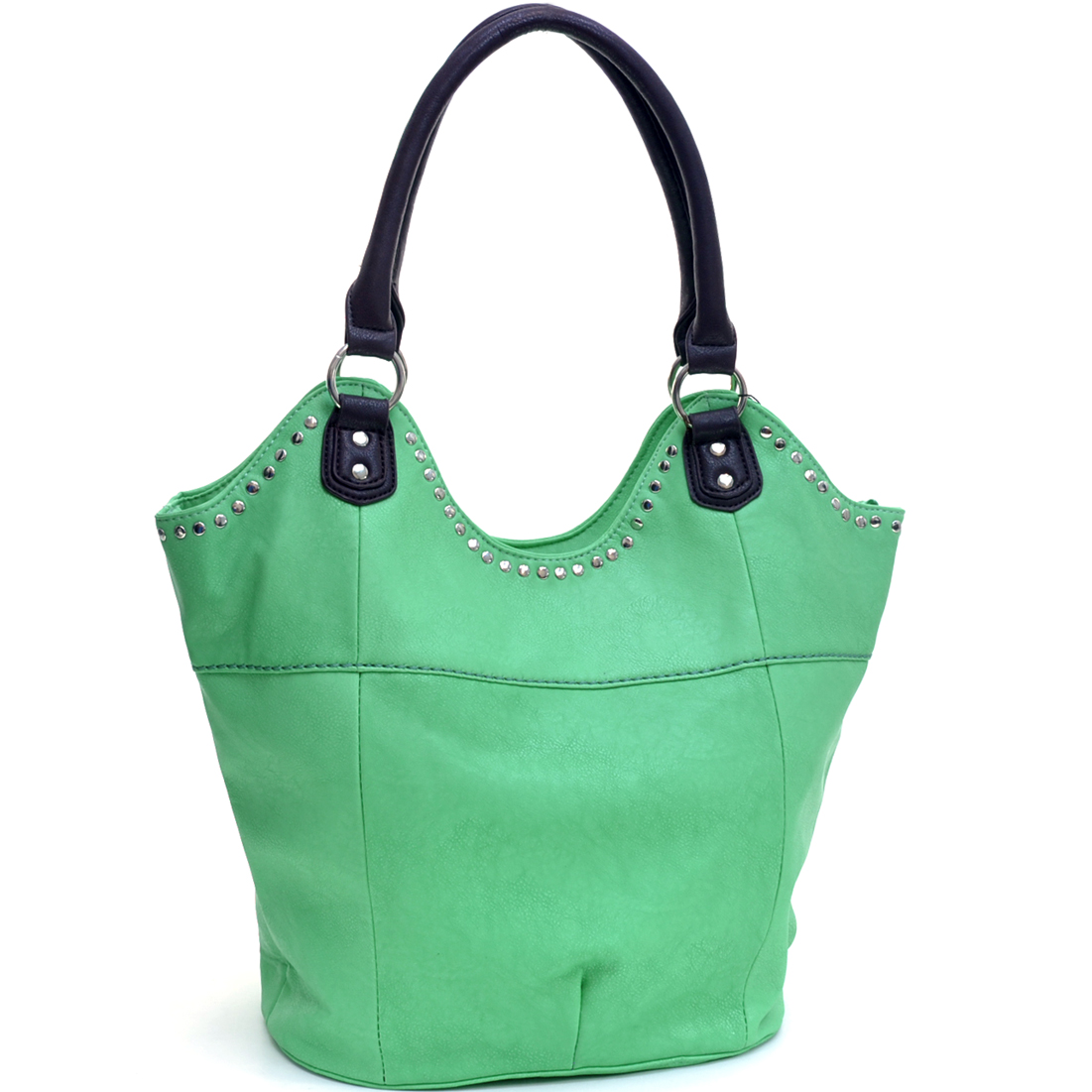 Studded Bucket Bottom Tote Bag with Removable Strap