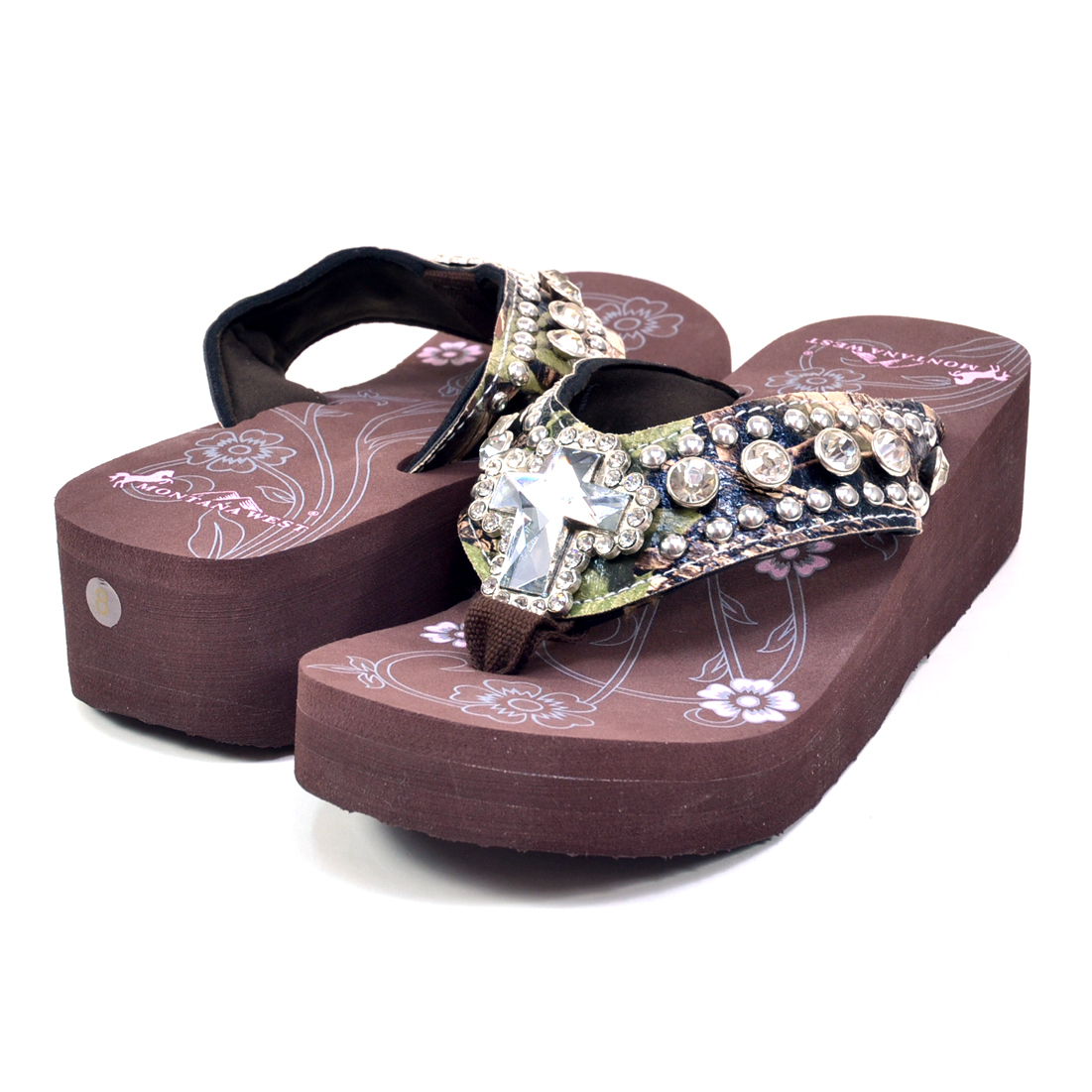Montana West® Bling Cross Wedge Flip Flops