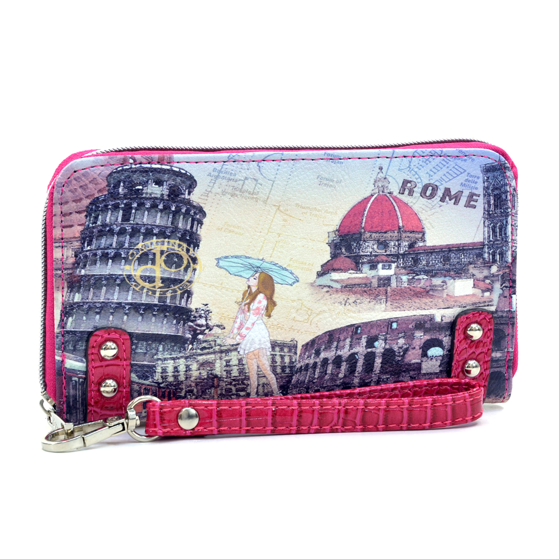 Studded Zip Around International Print  Wallet- Rome Wrist Strap