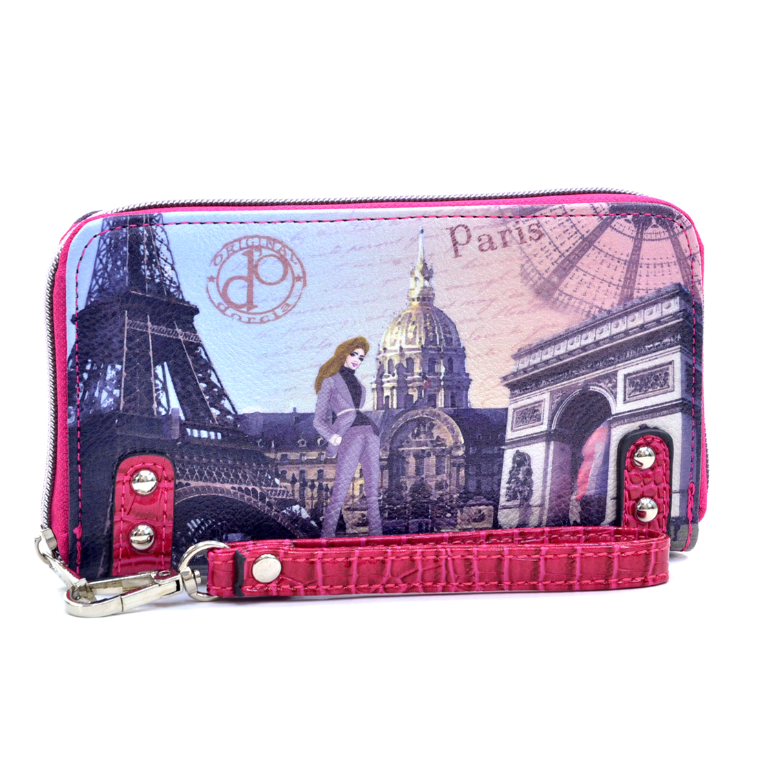 Studded Zip Around International Print  Wallet Paris- Wrist Strap
