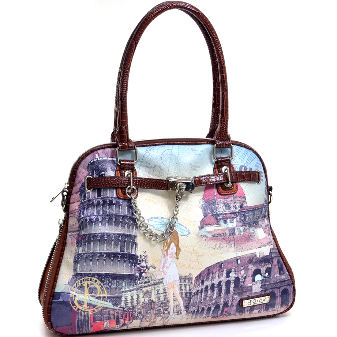 International Rome Print Faux Croc Tote with Adjustable Shoulder Strap