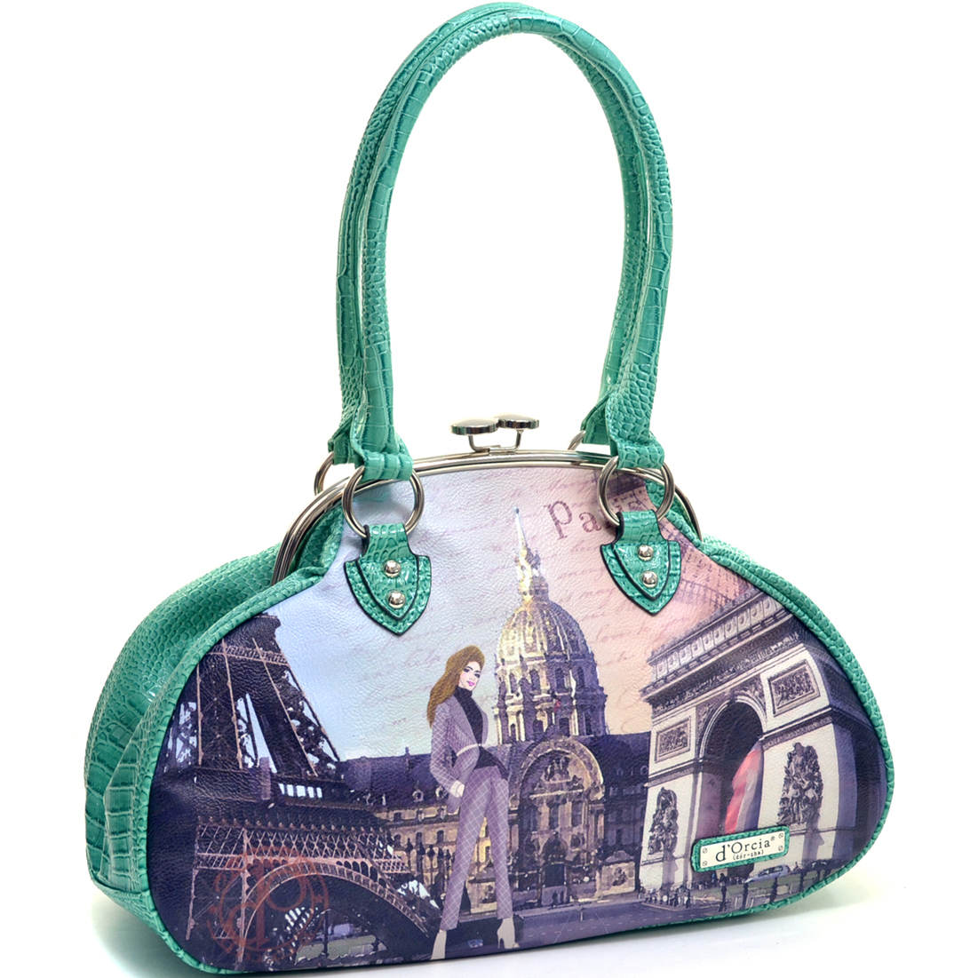 Snap Top Paris Print Baguette Tote with Flat Bottom