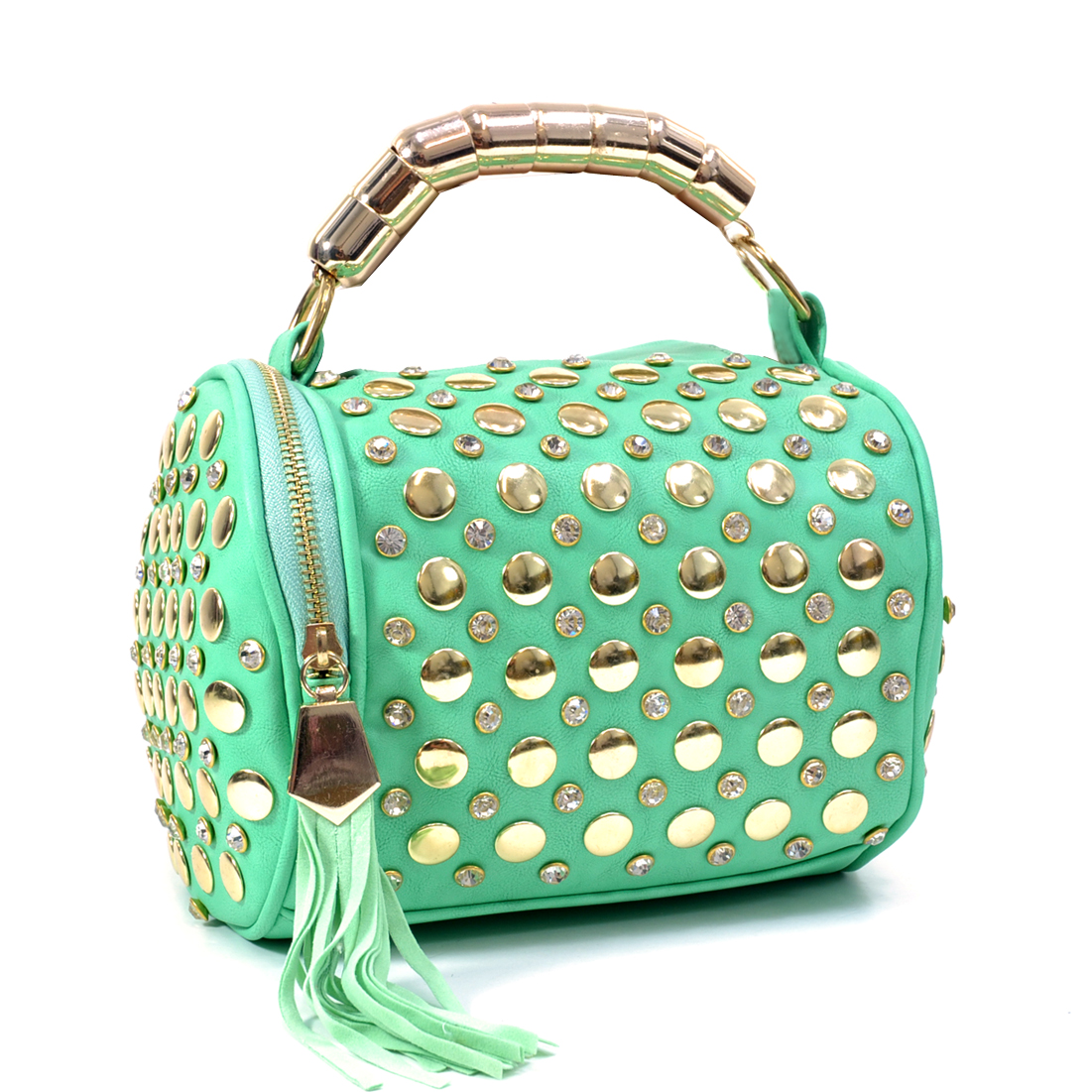 Rhinestone Studded Barrel Bag w/Fringe Accent and Zip Around Closure