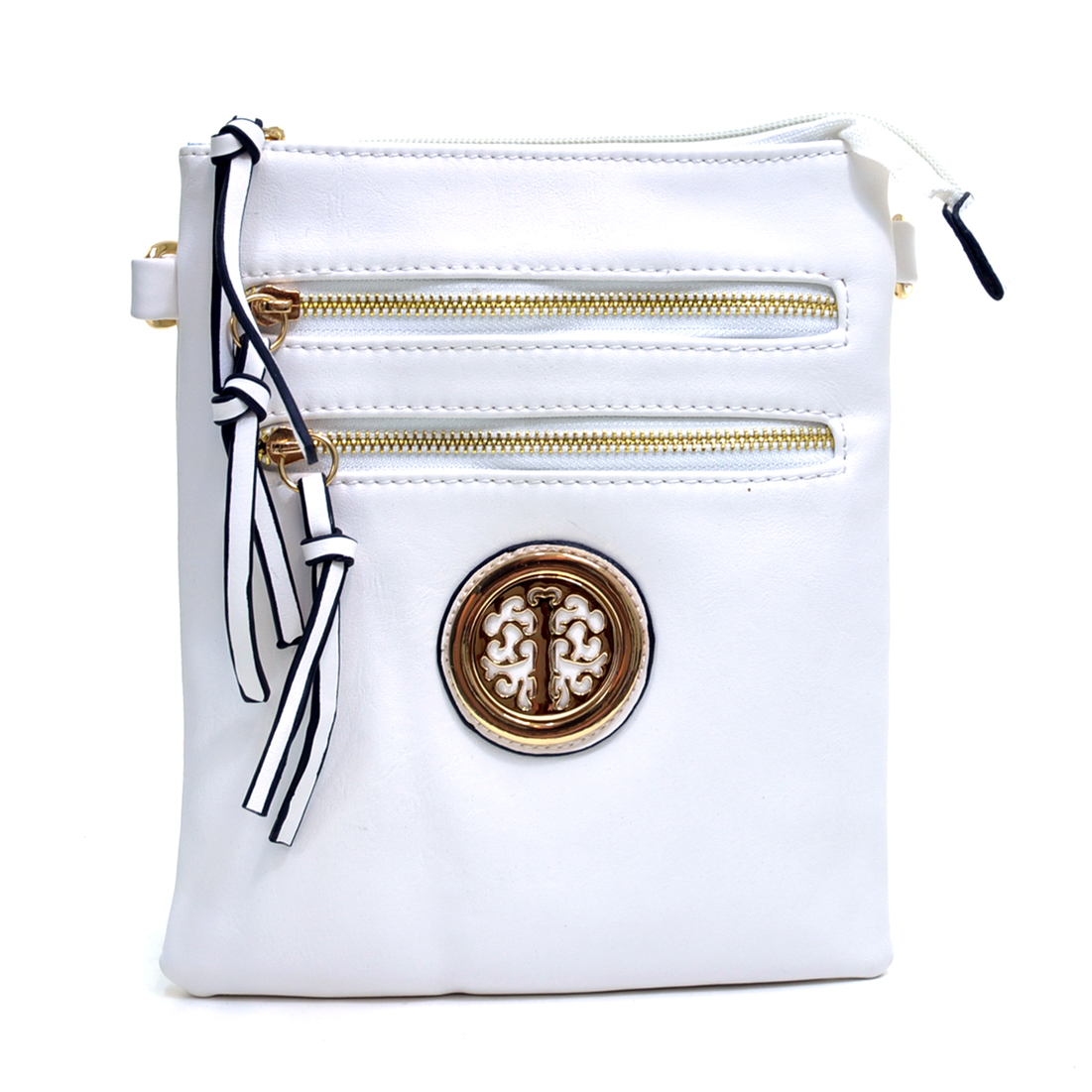 Gold Tone Emblem Zip Top Faux Leather Messenger Cross Body Bag