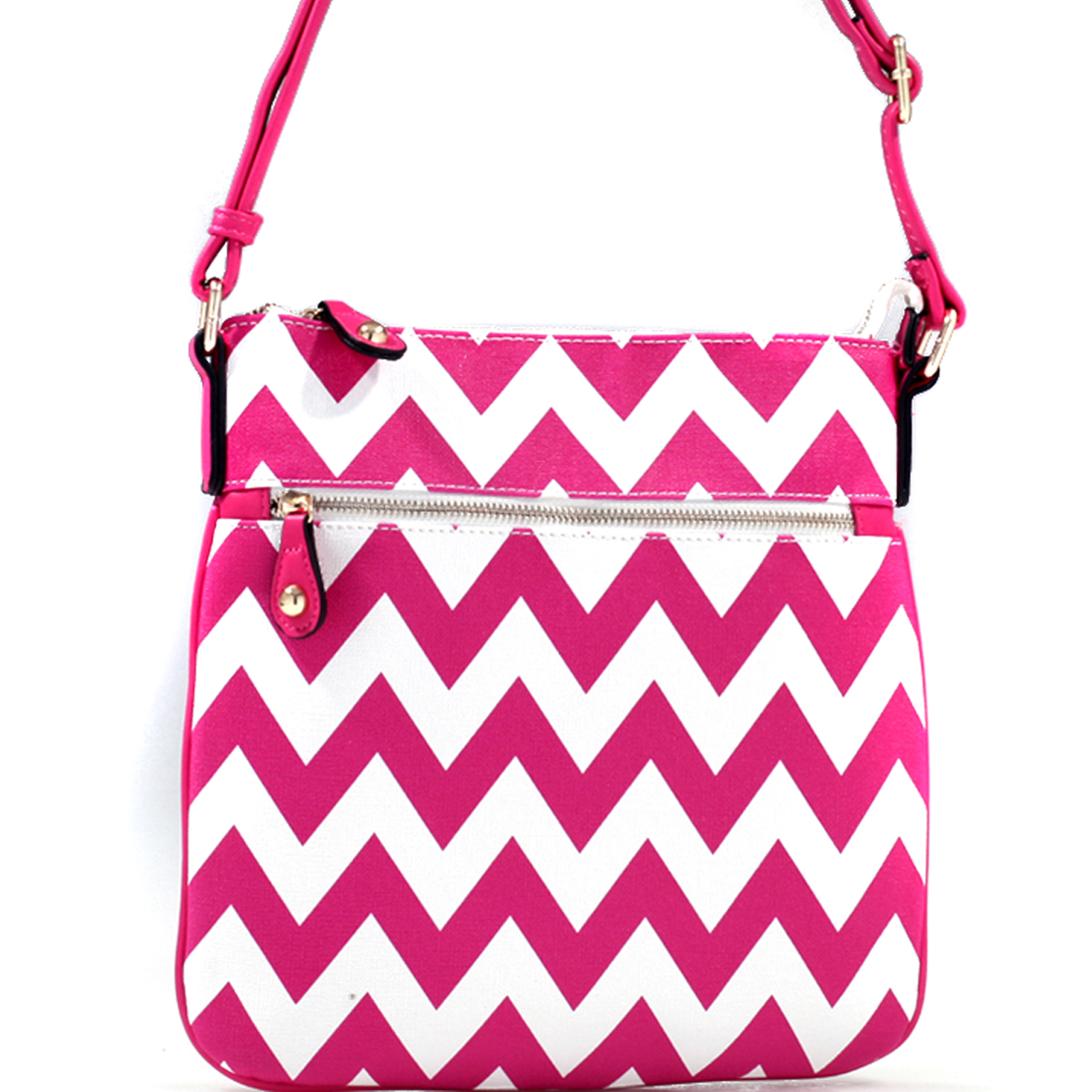 Chevron Print Messenger Bag with Adjustable Shoulder Strap