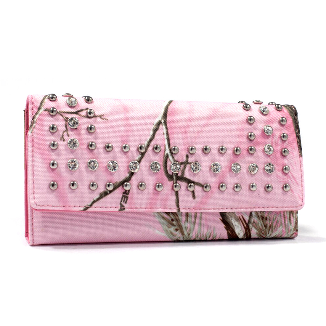 Realtree®  Rhinestone Studded Camouflage Checkbook Wallet with Pink Interior