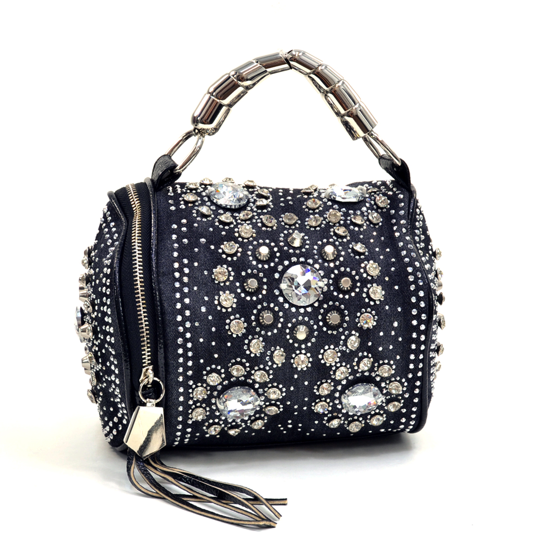 Rhinestone and Studs Woven Denim Barrel Bag w/Removable Shoulder Strap