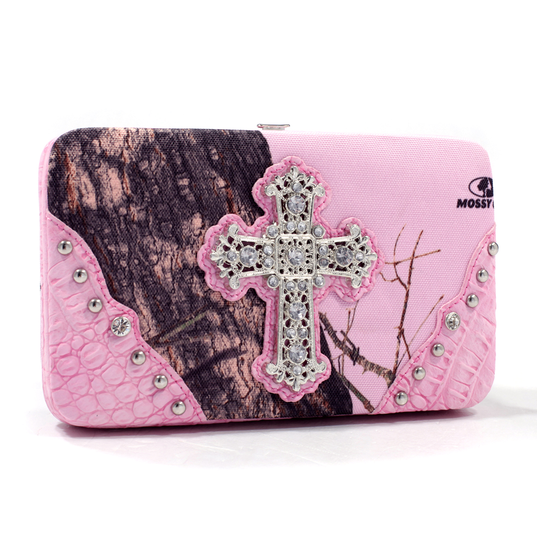 Mossy Oak® Rhinestone Studded Cross w/ Faux Croc Frame Wallet