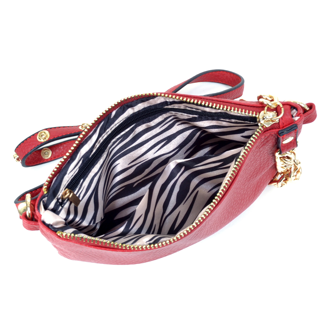 Gold Tone Chain Handle Shoulder Bag with Zebra Print Interior