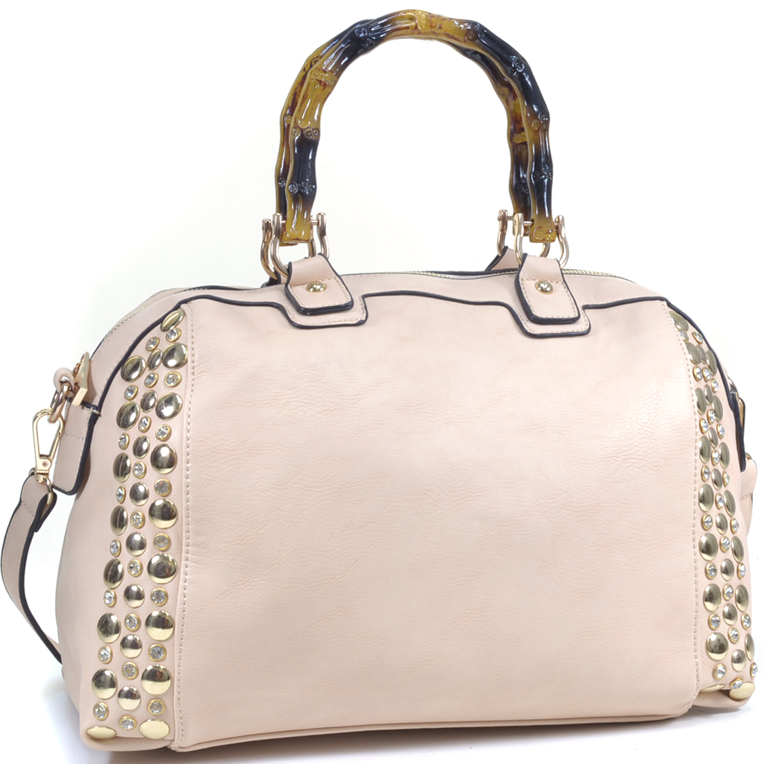Rhinestone Studded Bamboo Handle Flat Bottom Bag w/ Shoulder Strap