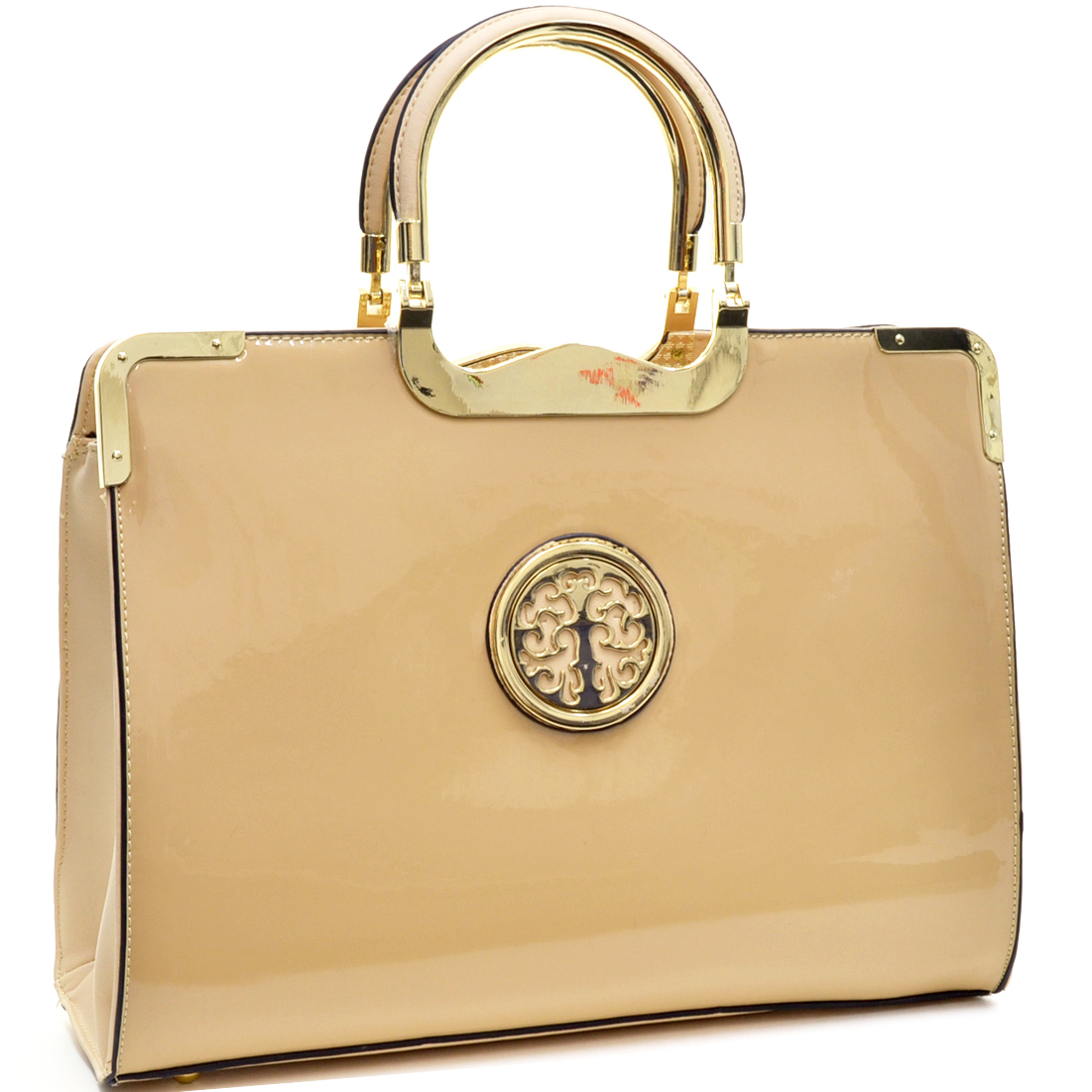 Faux Patent Briefcase Emblem Bag with Removable Shoulder Strap