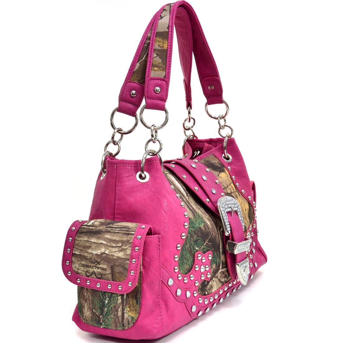 Dasein® Rhinestone Studded Buckle Accent Shoulder Bag in Realtree XTRA Camo Print -Fuchsia Trim