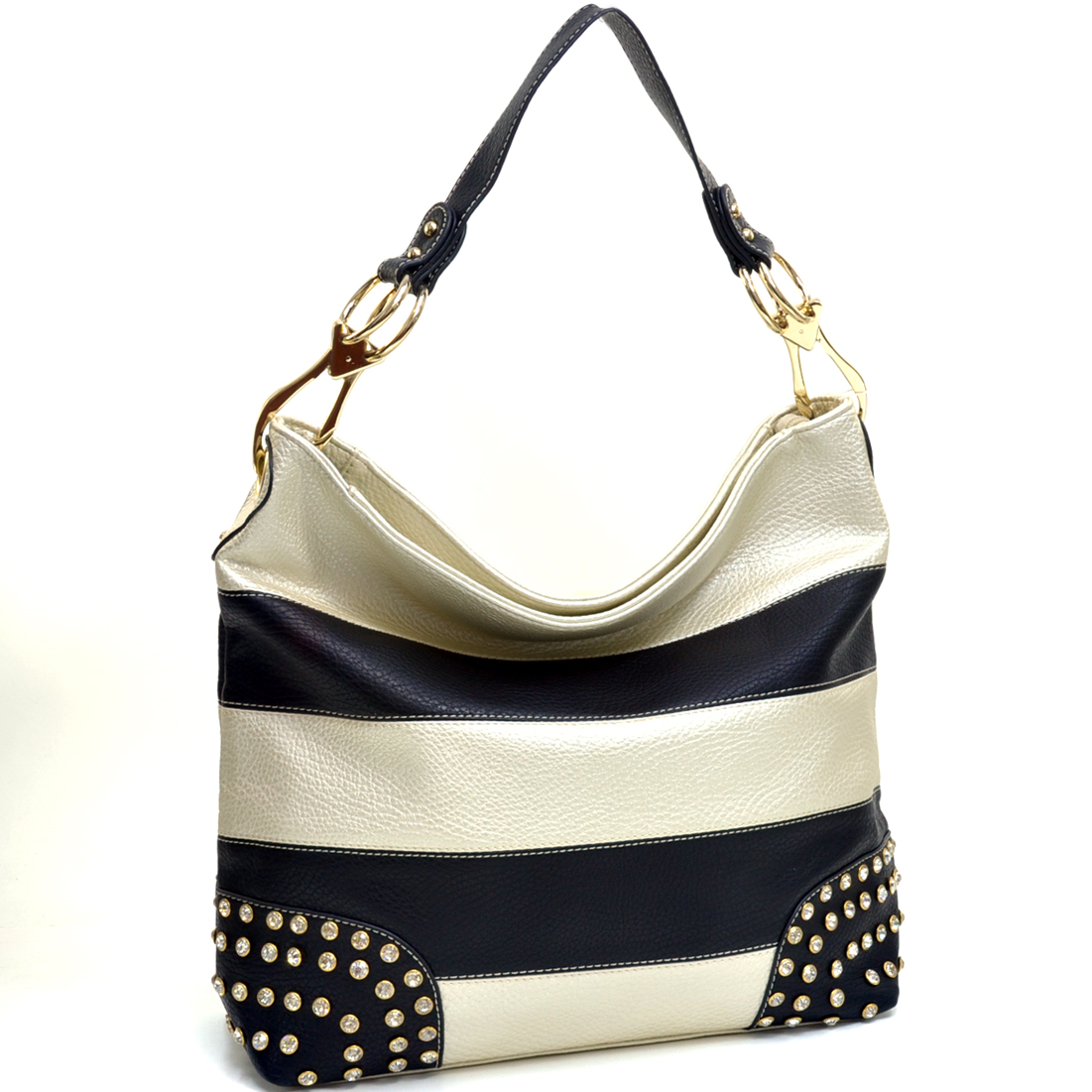 Striped Rhinestone Studded Flat Bottom Hobo with Removable Handle