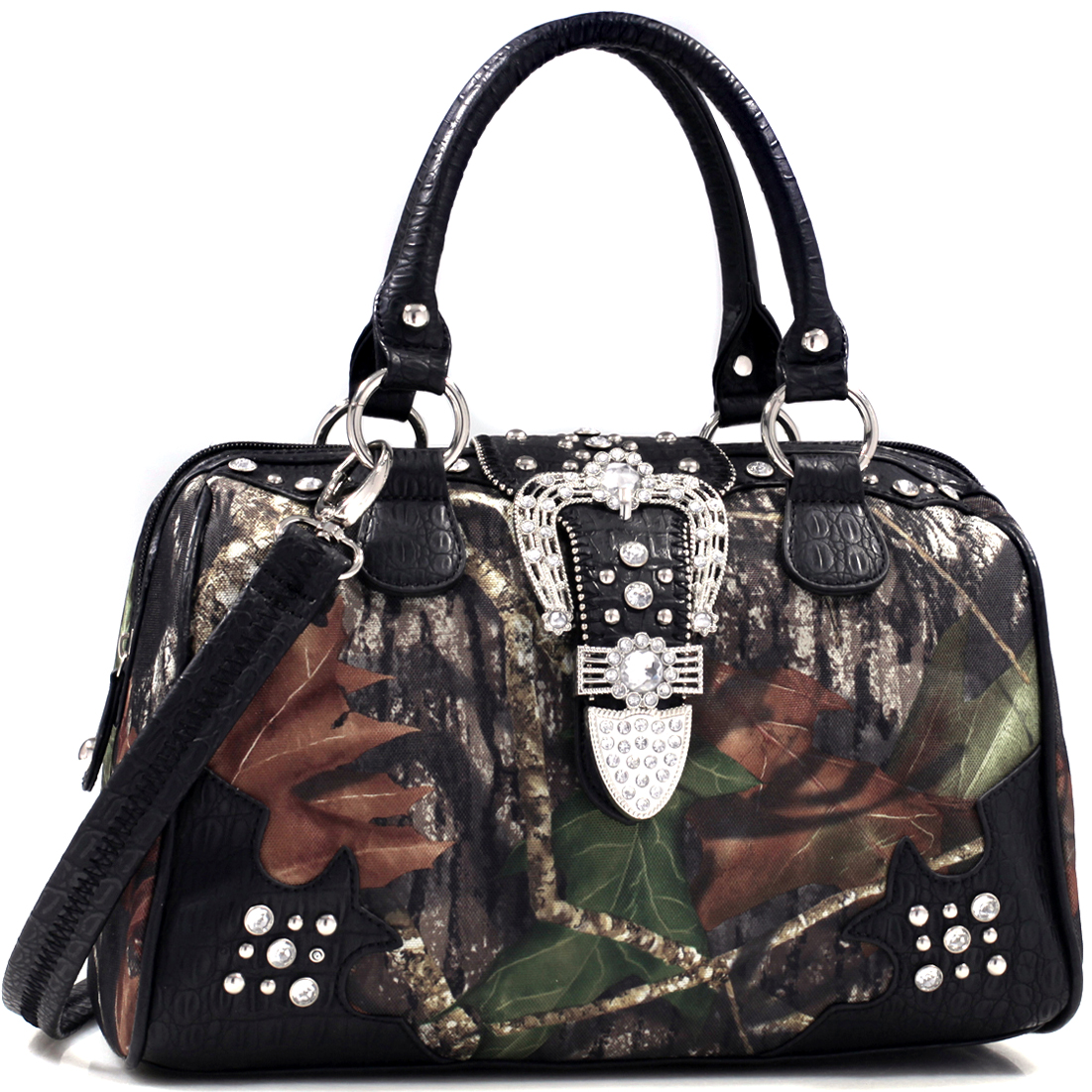 Mossy Oak® Camo Rhinestone Studded Buckle Western Tote Bag with Faux Croc Trim