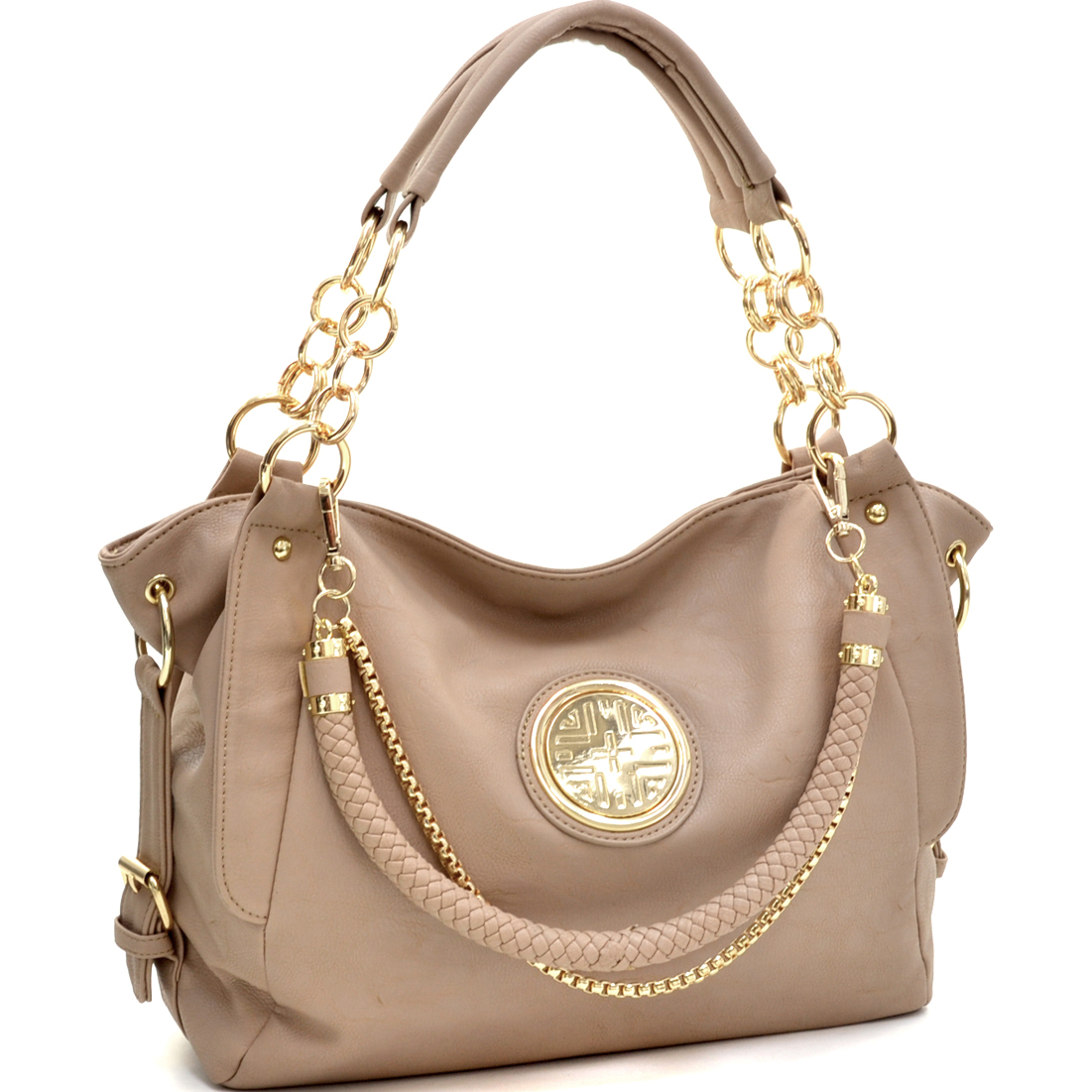Side Buckle Tote with Gold Tone Rings and Emblem