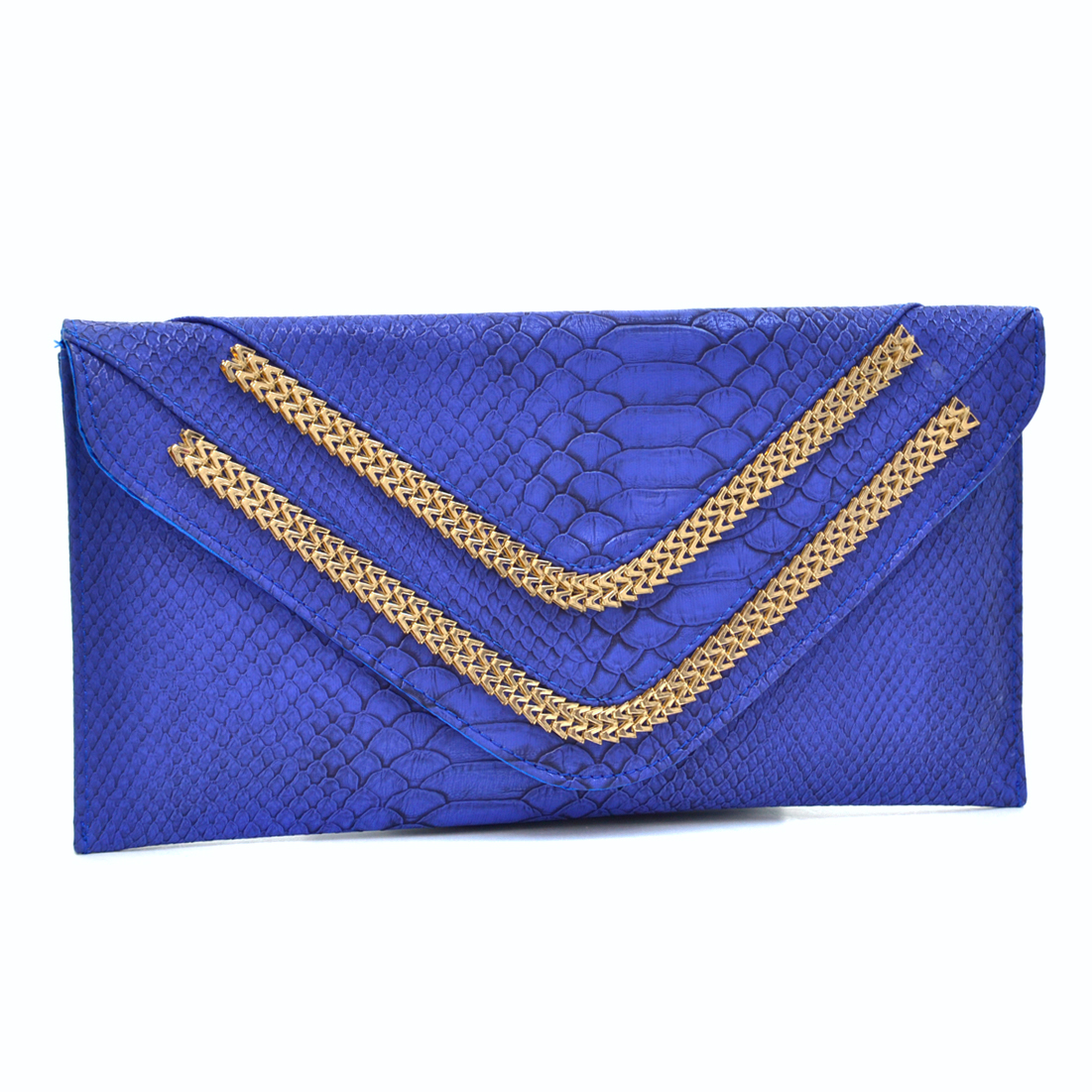 Metallic Faux Snakeskin Fold Over Clutch with Removable Chain Strap