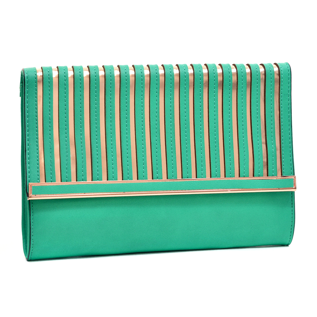 Fold Over Matte Clutch w/Gold Tone Accents and Removable Shoulder Strap
