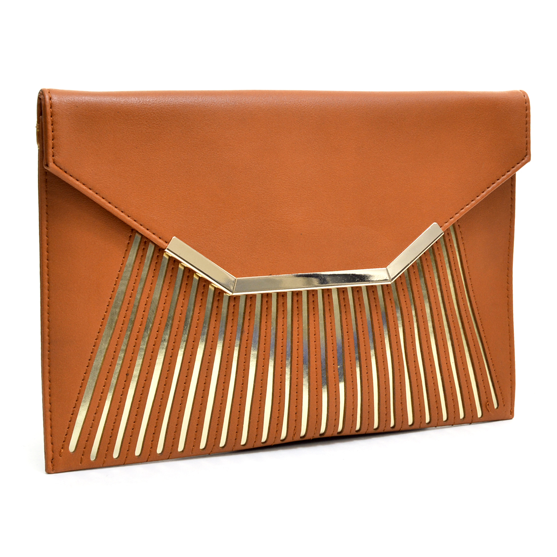Matte Fold Over Ultra Slim Clutch w/Removable Shoulder Strap