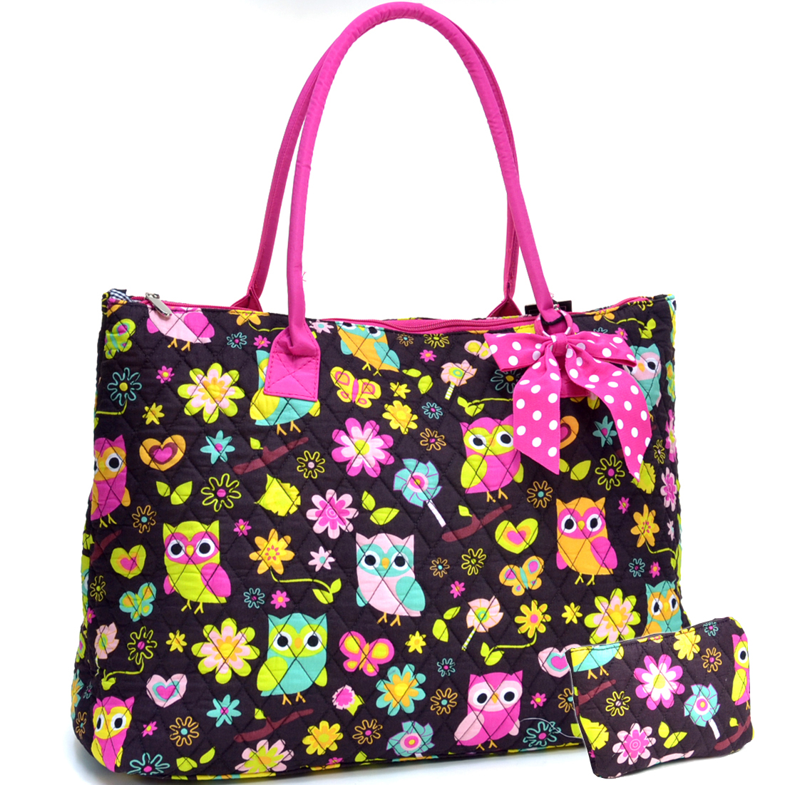 Sazy Bee Designs Owl & Floral Print Quilted Cotton Tote Bag w/Removable Bow