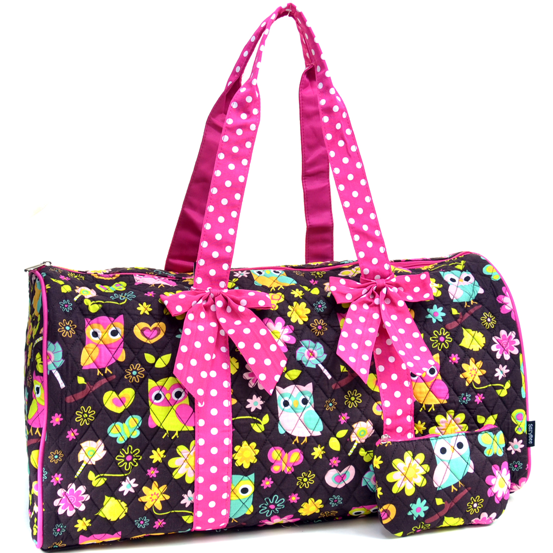 Sazy Bee Designs Quilted Owl & Floral Print Cotton Duffel w/Removable Bow