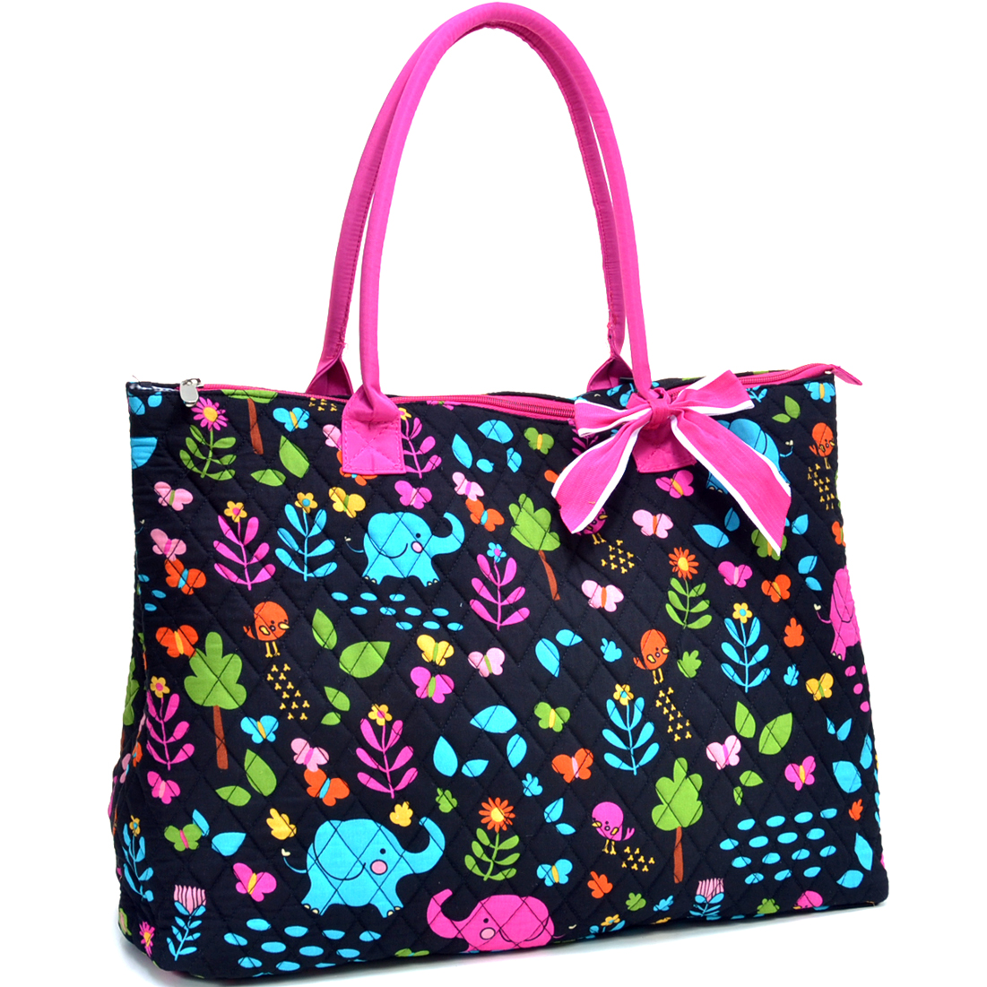 Sazy Bee Designs Elephant & Floral Print Quilted Cotton Tote Bag
