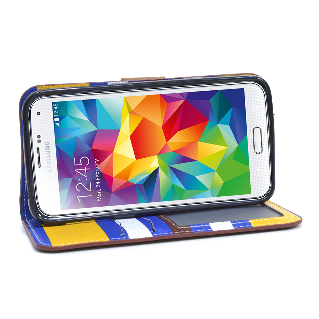 Dasein® Striped Phone Case for Samsung S5-Yellow/Blue