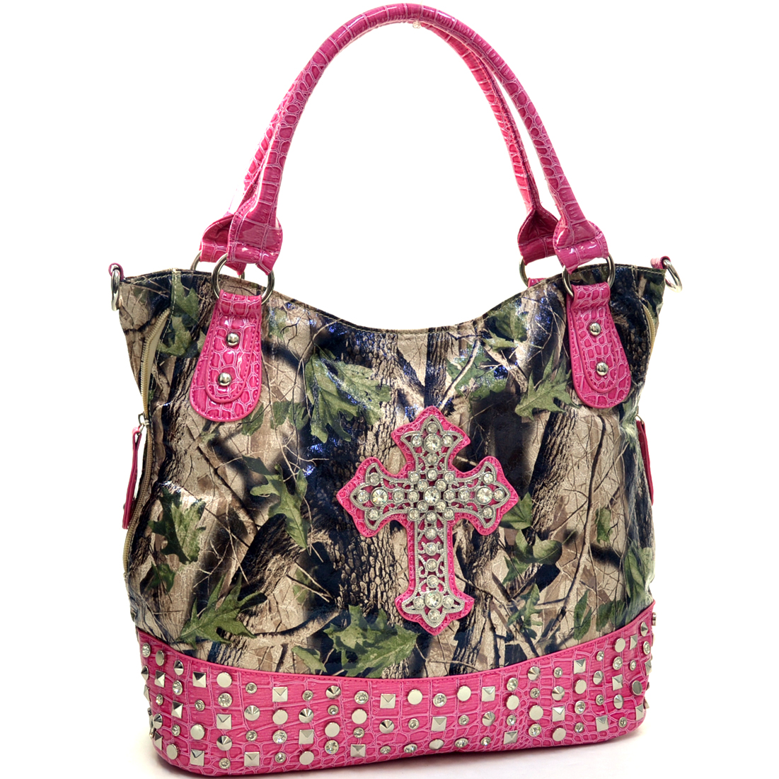 Faux Patent Camo Rhinestone Cross Pyramid Studded Tote