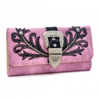 Embroidered Rhinestone Buckle Tri-fold Western Wallet