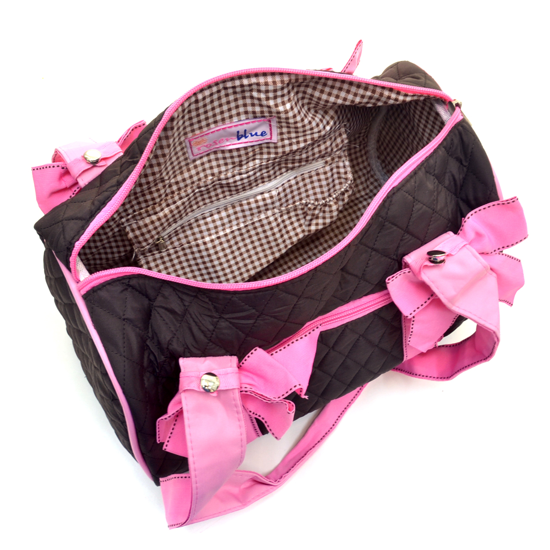 Rosen Blue™ Quilted Mini Duffel Bag With Removable Bows