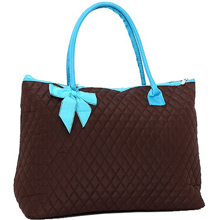 Rosen Blue™ Quilted Tote Bag with Removable Bow