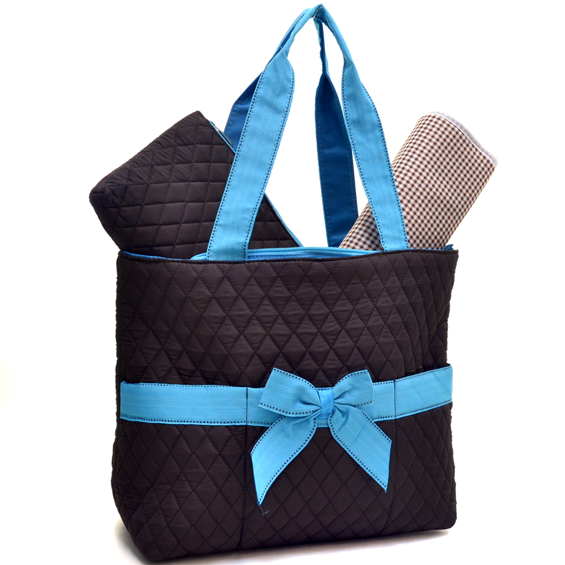 Rosen Blue™ Quilted Front Pouch Tote Bag with Removable Bow