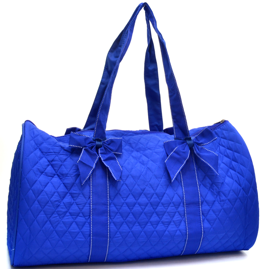 Rosen Blue™ Quilted Flat Bottom Duffel with Removable Bow