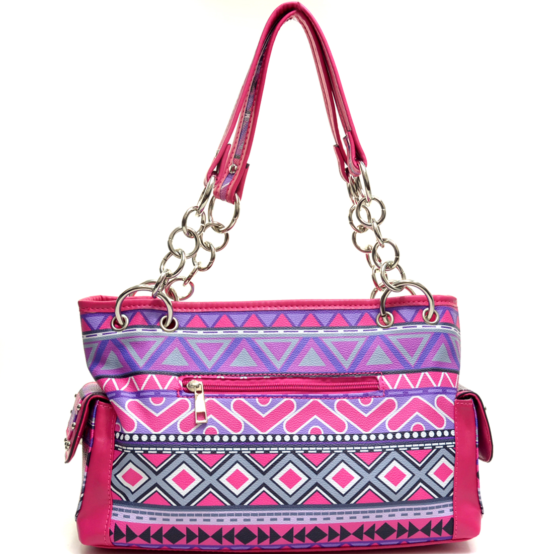 Aztec Print Shoulder Bag with Chain Handles & Silver Tone Stud Accents